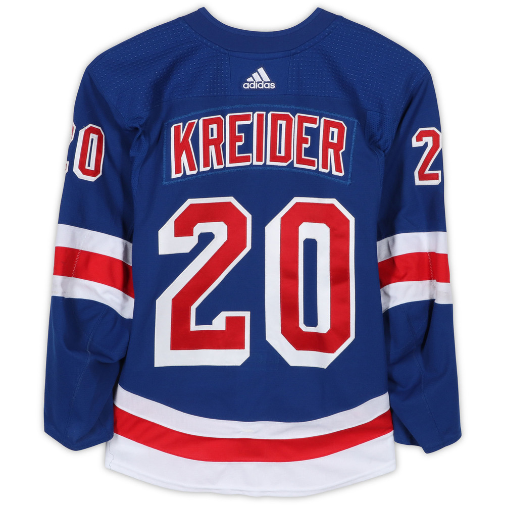 Chris Kreider New York Rangers Game-Used #20 Blue Set 2 Jersey from the 2017-18 NHL Season - Size 58