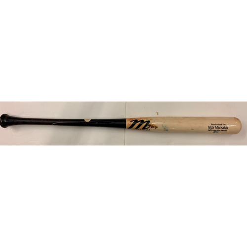 Photo of Markakis Bat Used By Ozzie Albies - April 25, 2021 Game 2 - Fly out off Madison Bumgarner - Bumgarner 7 Inning No Hitter