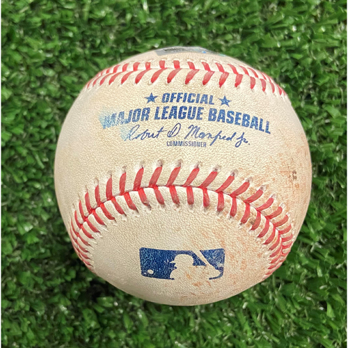 Photo of Ozzie Albies Hit Single Baseball off Aaron Ashby - 10/12/21- NLDS Game 4, Braves Win NLDS