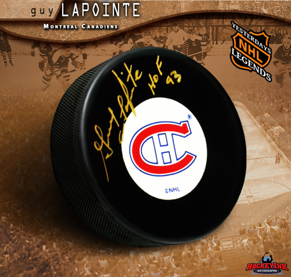 GUY LAPOINTE Signed Montreal Canadiens Puck