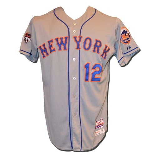 Photo of Juan Lagares #12 - Game Used 2015 Postseason Road Grey Jersey - Game 5 of NLDS - Mets vs. Dodgers - 10/15/15 - Game 3 of NLCS - Mets vs. Cubs - 10/20/15