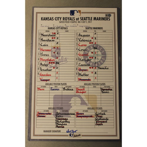 Photo of Game-Used Line-up Card: Mike Moustakas, Lorenzo Cain, and Salvador Perez Home Runs (KC at SEA - 7/5/2017)