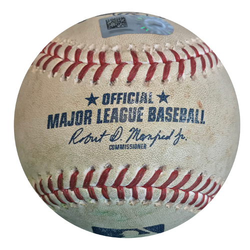 Photo of Game-used Baseball: 8/4/2017 Wood vs. Jordy Mercer (Single), Ivan Nova (Foul)