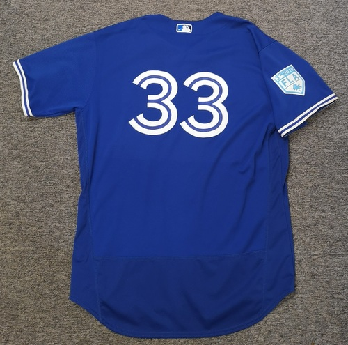 Photo of Authenticated Game Used 2019 Spring Training Jersey - #33 Jackson McClelland (Mar 25: 0.1 IP, 3 Hits, 4 ER, 2 Walks). Size 50