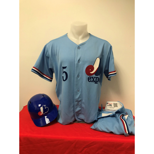 Photo of Adrian Sanchez Expos Gear: Game-Used Jersey, Game-Used Pants, and Team-Issued Batting Helmet