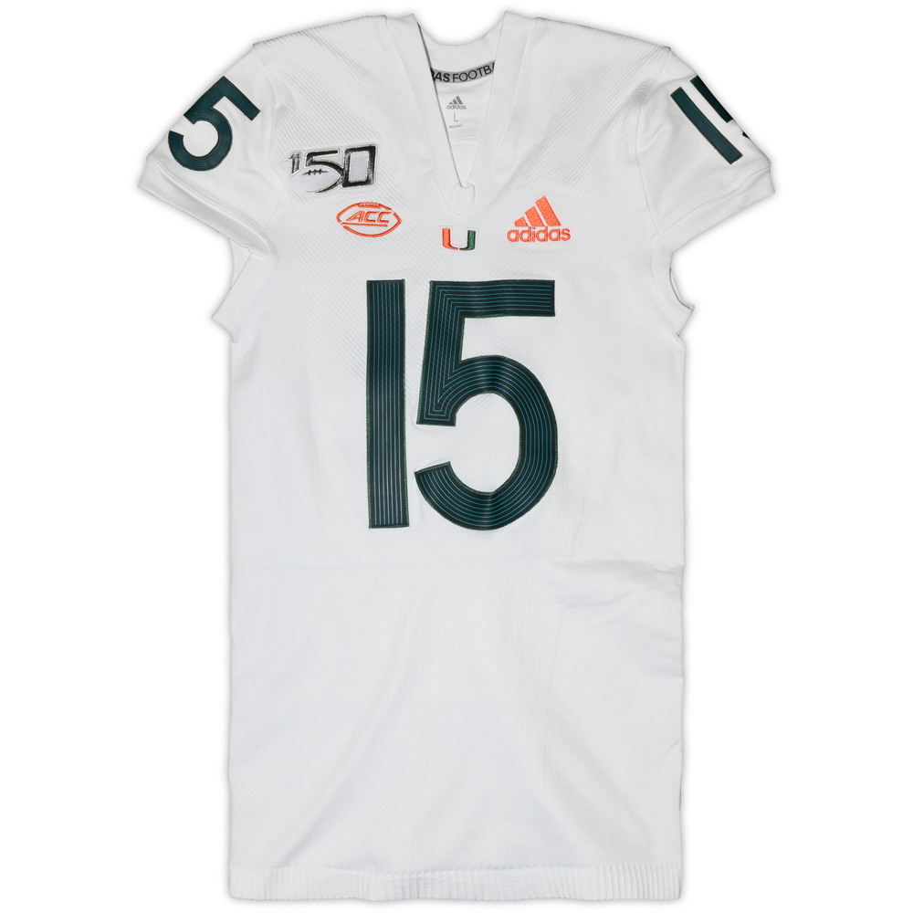 Miami Hurricanes Game-Used #15 White Parley Jersey - Size Large (One of Two)