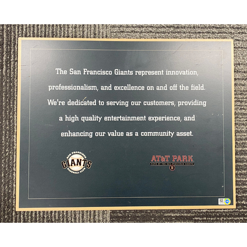 Photo of AT&T Park Stadium Sign - San Francisco Giants Mission Statement