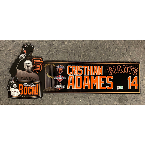 Photo of Game Used Thank You BOCH! Locker Tag - #14 Cristhian Adames
