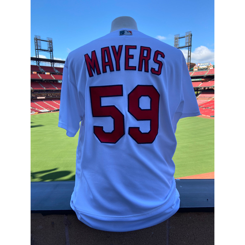 Photo of Cardinals Authentics: Mike Mayers Game-Used Home White Jersey *10,000th Win Since Joining N.L.*