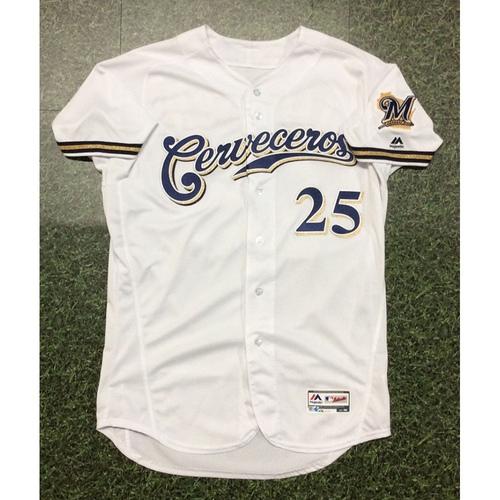 Photo of Jay Jackson 2019 Game-Used Cerveceros Jersey