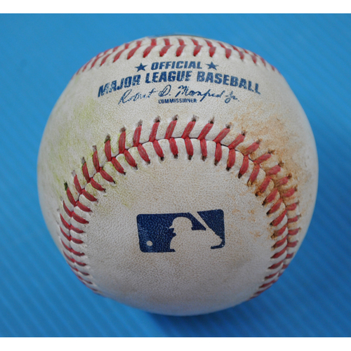 Photo of Game-Used Baseball - 2020 ALDS - Oakland Athletics vs. Houston Astros - Game 3 - Pitcher: Jake Diekman, Batter: Kyle Tucker (Single to CF) - Bot 5