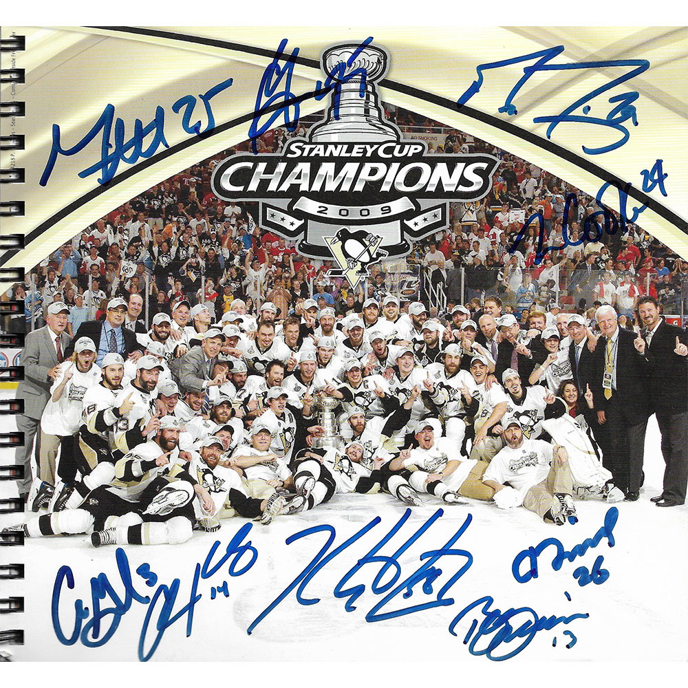 Pittsburgh Penguins Multi-Signed 2009 Stanley Cup Champions Booklet - Fleury, Letang, Gonchar & More