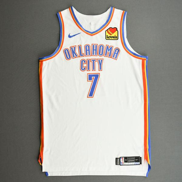 Image of Darius Bazley - Oklahoma City Thunder - Kia NBA Tip-Off 2020 - Game-Worn Association Edition Jersey - Double-Double
