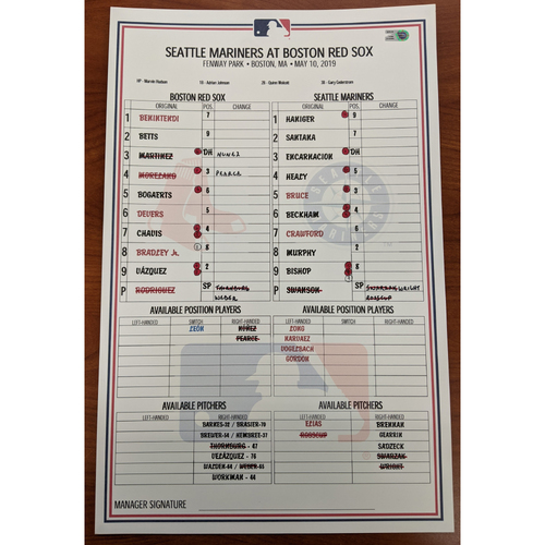 Photo of Red Sox vs. Mariners May 10, 2019 Game Used Lineup Card - Red Sox Win 14 to 1