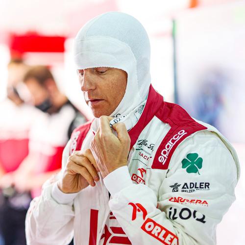 Photo of Kimi Raikkonen 2021 Framed Signed Race-worn Balaclava - Spanish GP