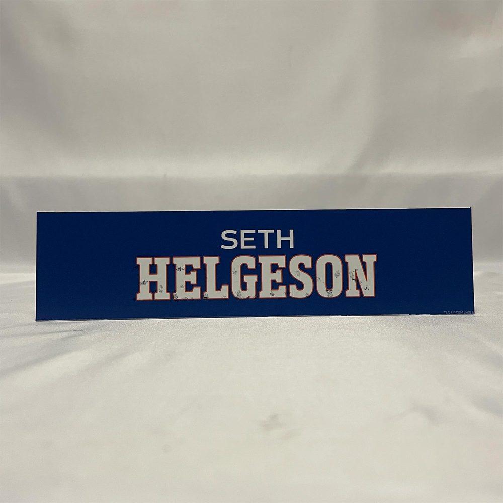 2020-21 Bridgeport Sound Tigers Locker Room Nameplate - #2 Seth Helgeson