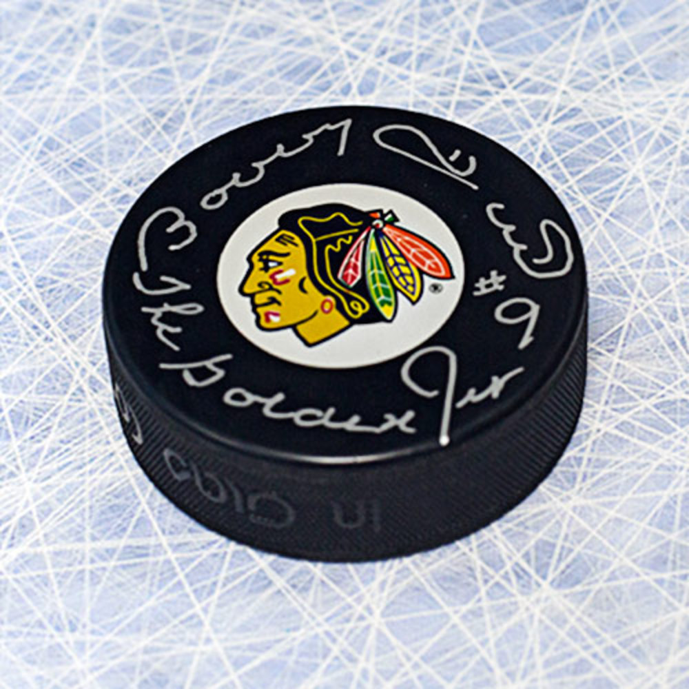 Bobby Hull Chicago Blackhawks Autographed Hockey Puck w/ Golden Jet inscription