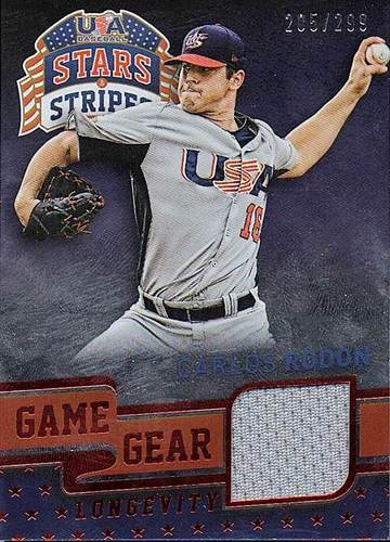 Photo of 2015 USA Baseball Stars and Stripes Game Gear Materials Longevity Ruby #18 Carlos Rodon/299
