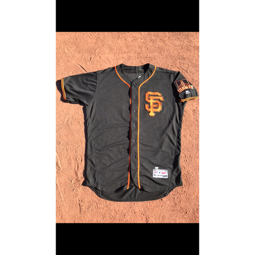 Photo of San Francisco Giants - 2017 Game-Used Jersey - #6 Jarrett Parker - Black Alt - Worn 8/5, 8/7, & 8/19 - First Career Walk Off Hit - Jersey Size 48