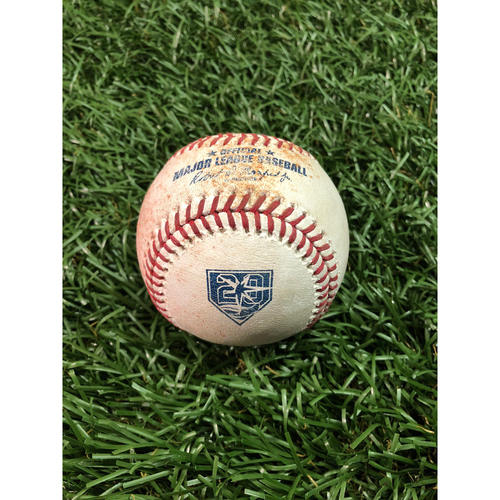 Photo of 20th Anniversary Game Used Baseball: Giancarlo Stanton single and Gleyber Torres at-bat against Diego Castillo - July 25, 2018 v NYY