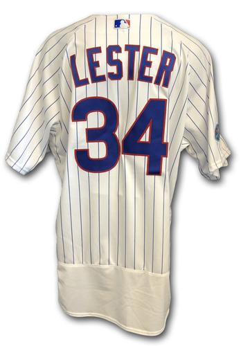 Photo of Jon Lester Game-Used Jersey -- Rockies vs. Cubs -- 10/2/18 -- 2018 Postseason Wild Card -- 6.0 IP, 4 H, 9 K