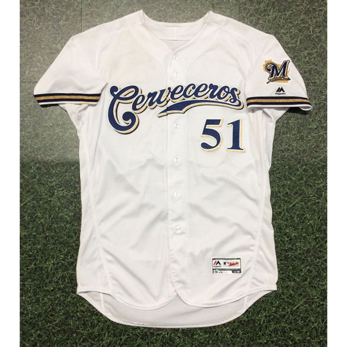 Freddy Peralta 2019 Game-Used Cerveceros Jersey