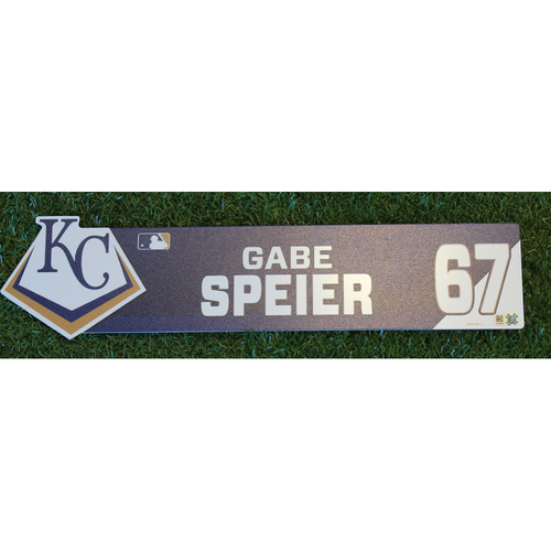 Photo of Game-Used Locker Nameplate: Gabe Speier (ATL @ KC - 9/25/19)