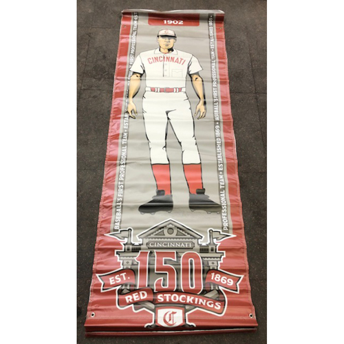 Photo of Reds 1902 Throwback Uniform Banner From Downtown Cincinnati & Great American Ball Park