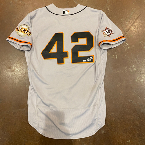 Photo of 2020 Jackie Robinson Day Jersey - Team Issued & Autographed - #14 Chadwick Tromp - Size 44