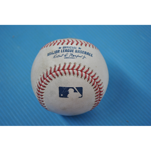 Photo of Game-Used Baseball - 2020 ALDS - Oakland Athletics vs. Houston Astros - Game 3 - Pitcher: Liam Hendriks, Batters: George Springer (Swinging Strikeout), Jose Altuve (Popout to 1B) - Bot 9