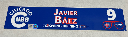 Photo of Javier Baez 2021 Spring Training Locker Nameplate