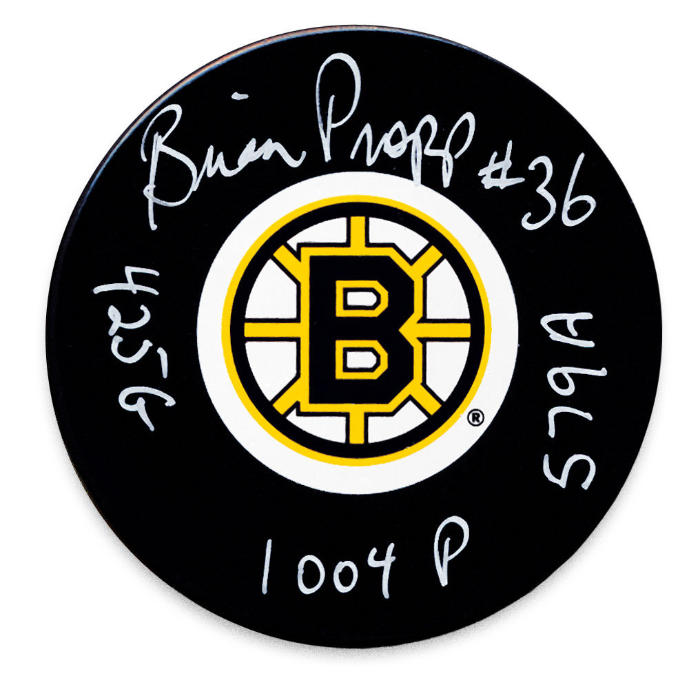 Brian Propp Boston Bruins Stats Autographed Puck