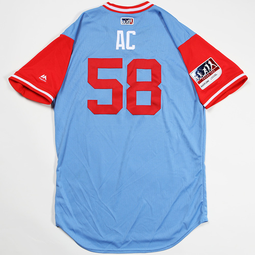 "Photo of Alex ""AC"" Claudio Texas Rangers Game-Used 2018 Players' Weekend Jersey"
