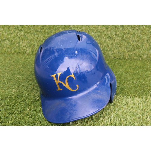 Photo of Game-Used Batting Helmet: Hunter Dozier 20th Career Double and 35th Career RBI (Size 7 3/8 - CLE @ KC - 9/28/18)