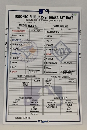 Photo of Authenticated Game Used Lineup Card - May 4, 2018 vs Tampa Bay Rays: Johnny Field had 2 Doubles and a Home Run for Tampa Bay