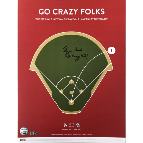 "Photo of Cardinals Authentics: St. Louis Cardinals Ozzie Smith Autographed ""Go Crazy Folks"" Print"