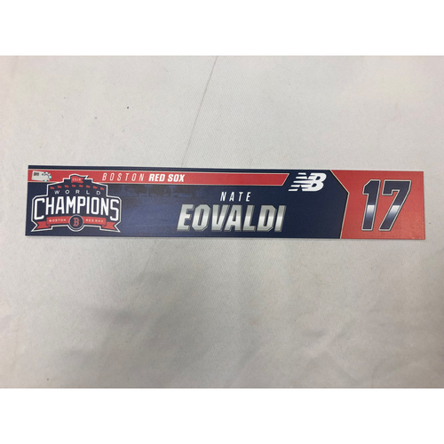 Photo of Nathan Eovaldi Game Used April 9, 2019 Locker Tag - Blue Jays at Red Sox