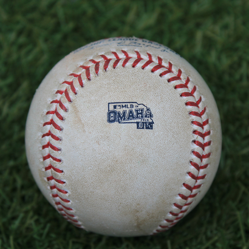 Photo of Game-Used Baseball: MLB in Omaha - Homer Bailey Pitched Strikeout to Christin Stewart - 1st MLB Strikeout Recorded in Nebraska (DET @ KC - 6/13/19)