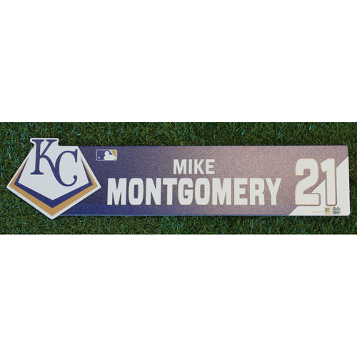 Photo of Game-Used Locker Nameplate: Mike Montgomery (TOR @ KC - 7/31/19)