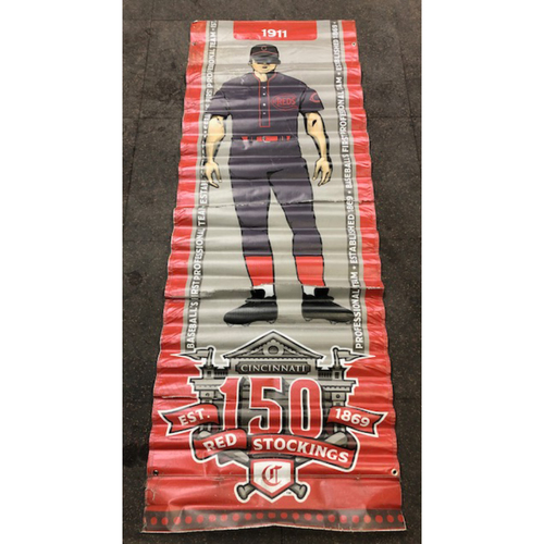 Photo of Reds 1911 Throwback Uniform Banner From Downtown Cincinnati & Great American Ball Park