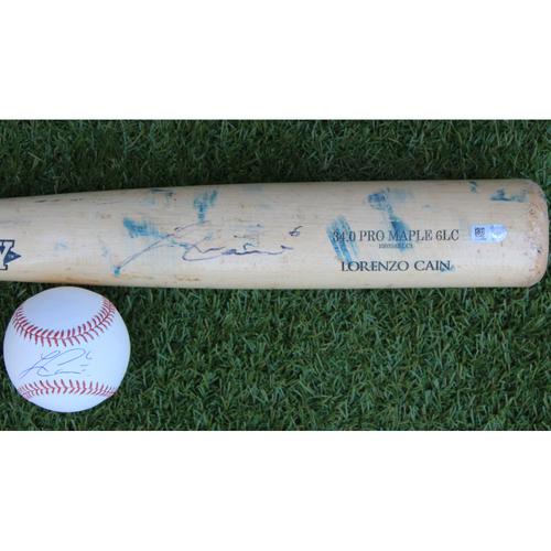 Photo of Autographed Baseball and Autographed Bat: Lorenzo Cain