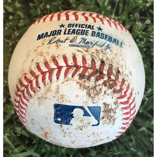 Photo of Game-Used Baseball STL@MIL 09/14/20 (Game 2 of Doubleheader) - Drew Rasmussen - Lane Thomas: Strikeout (99.0 MPH Four-Seam Fastball)