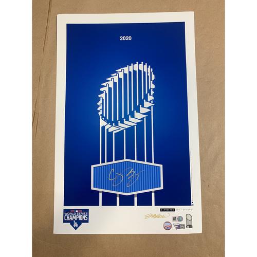 Photo of Corey Seager Autographed LA Dodgers World Series Minimalist Art by S. Preston
