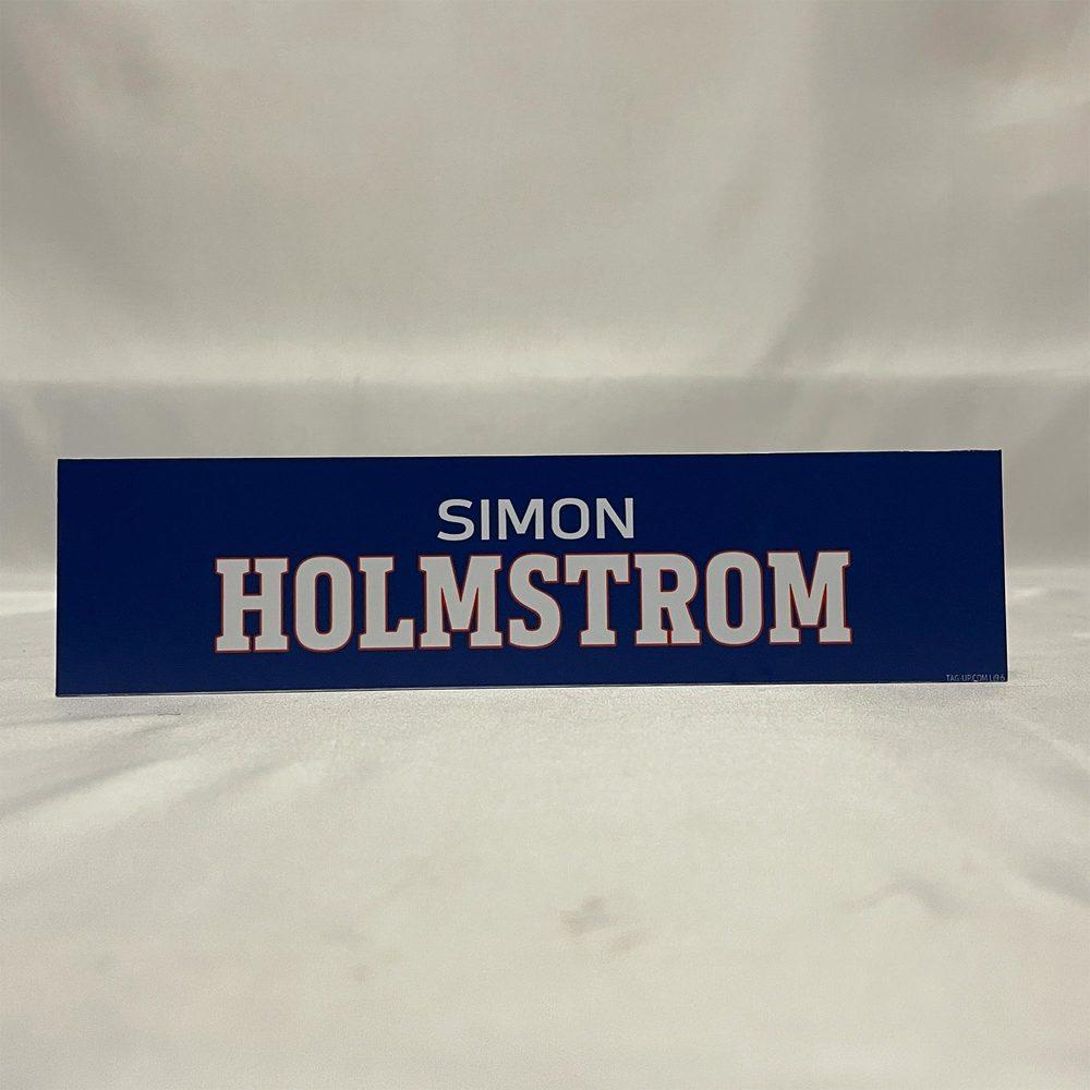 2020-21 Bridgeport Sound Tigers Locker Room Nameplate - #15 Simon Holmstrom