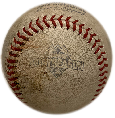 Photo of Game Used Baseball - 2015 NLCS Game 1, Mets Win 4-2 - Jon Lester to Travis d'Arnaud - Pitch in the Dirt - 6th Inning - Mets vs. Cubs - 10/17/15