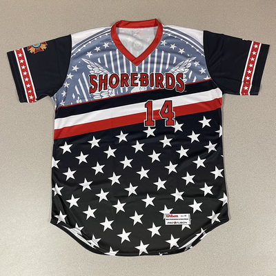 Patriotic Game Worn Autographed Jersey #14 Size 44 David Barry