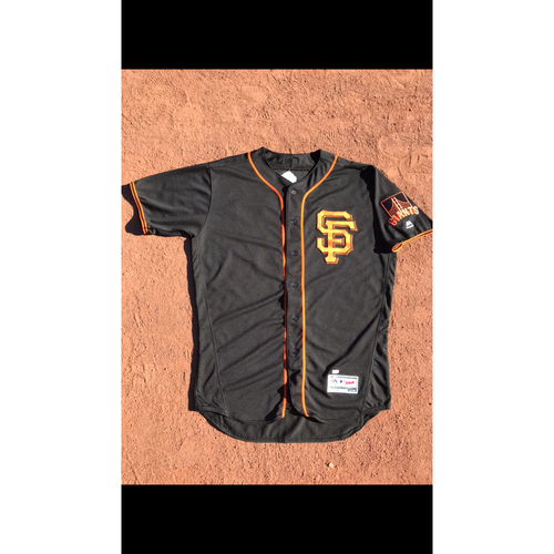 Photo of San Francisco Giants - 2017 Game-Used Jersey - #37 Kelby Tomlinson - Black Alt - Worn 8/7 & 8/19 - Jersey Size 48