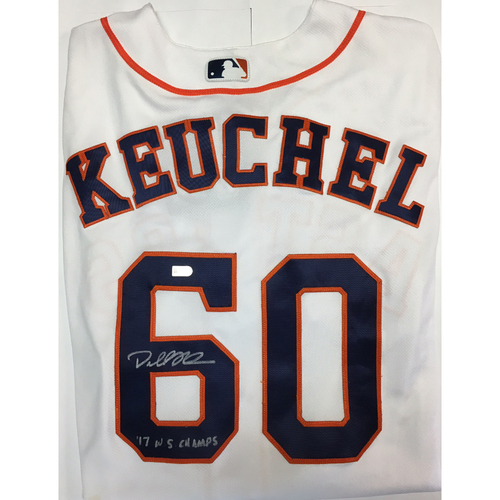 "Photo of Dallas Keuchel ""17 WS Champs"" Autographed Astros Jersey"