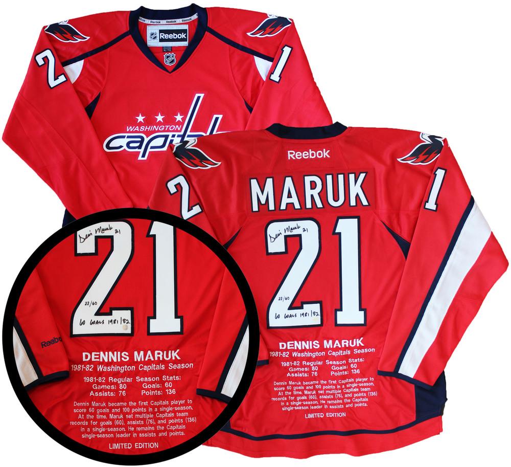 Dennis Maruk Signed Milestone Jersey Capitals Replica Red Reebok '81-82 Season LE 60