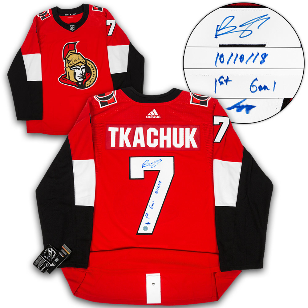 Brady Tkachuk Ottawa Senators Signed & Dated 1st NHL Goal Adidas Authentic Hockey Jersey #/77